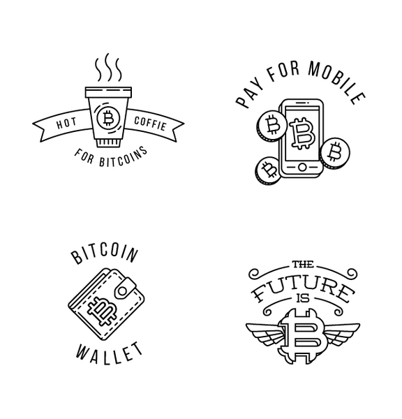 Set of linear bitcoin icons and logos